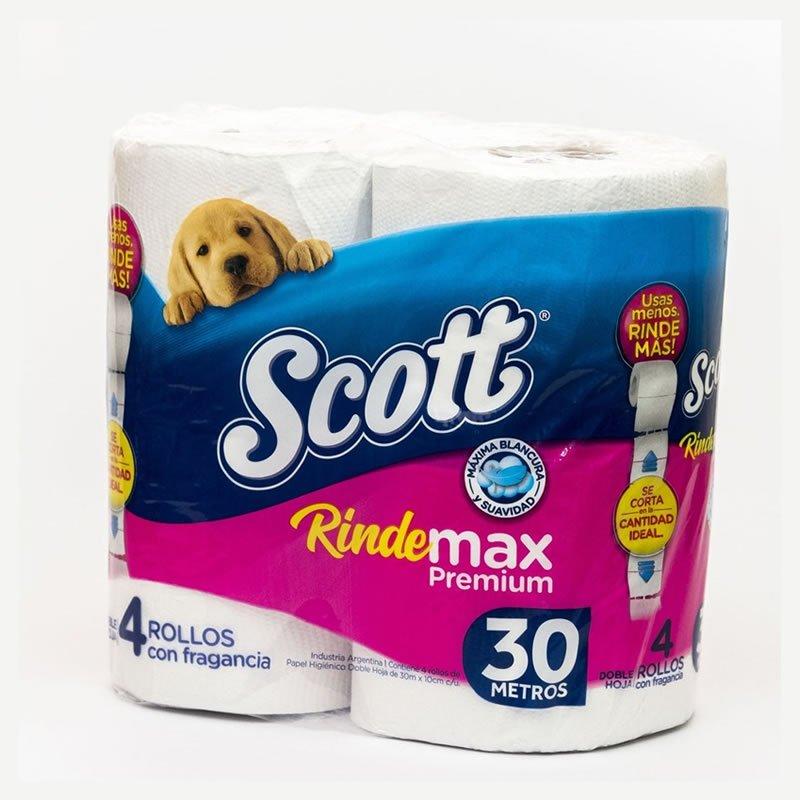 Papel Higiénico Scott Rinde Max Doble Hoja x 4 rollos