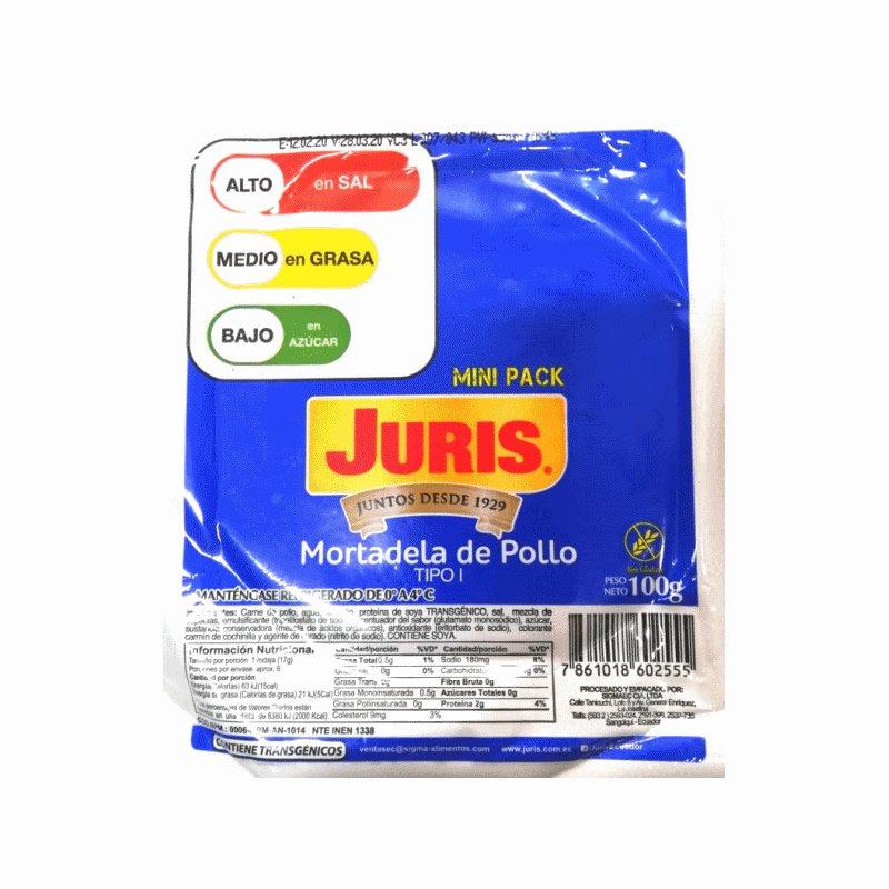Mortadela de Pollo Juris 100g Línea Diaria